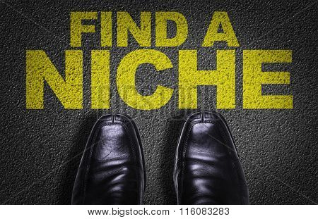 Top View of Business Shoes on the floor with the text: Find a Niche