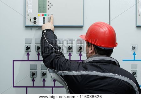 Technician Give Command In Power Plant Control Center
