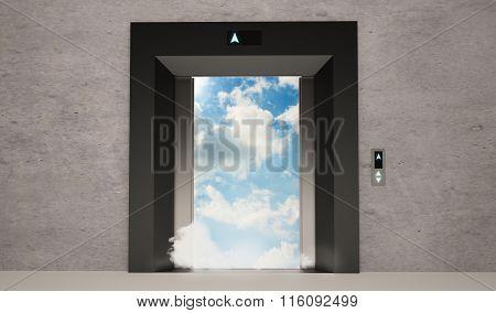 modern elevator doors open with blue sky