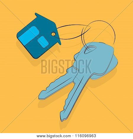 House key icon, sale rent or security flat vector