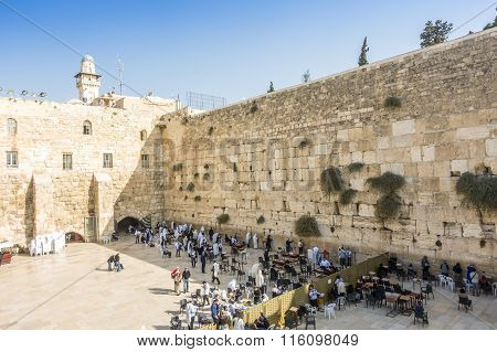 People Praying At Western Wall, Jerusalem