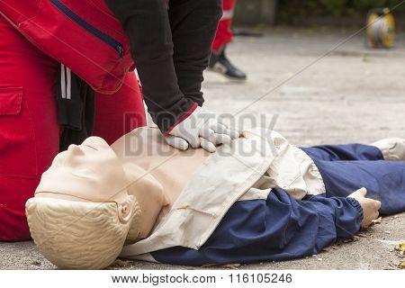 First aid training. Cardiopulmonary resuscitation - CPR.