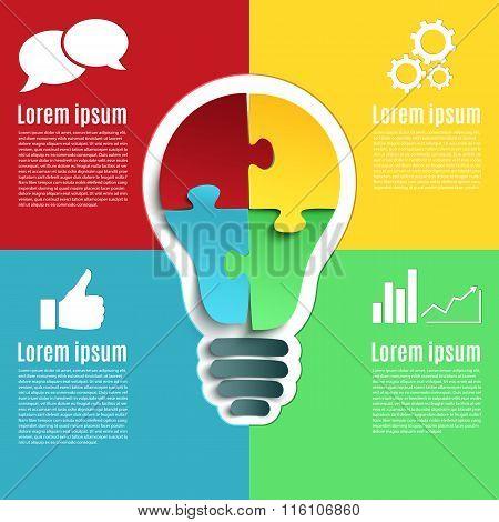 Bright idea, creative conceptual infographics.