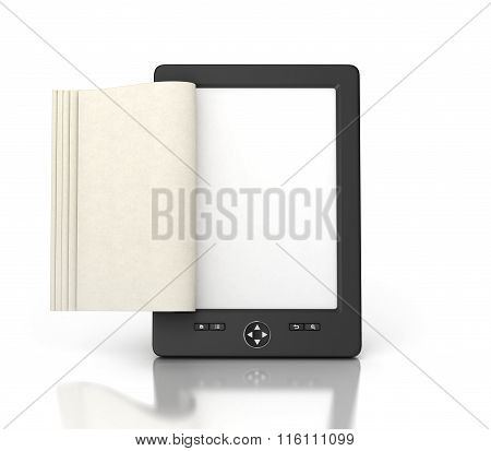 E-book Reader Tablet With Empty Pages Isolated