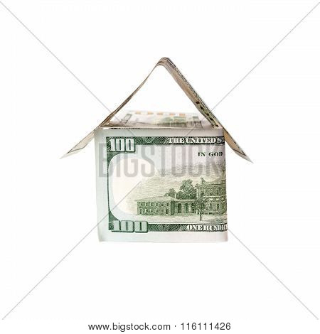 House of dollars isolated on white