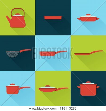 Utensil Illustrations Set In Flat Style With Long Shadow