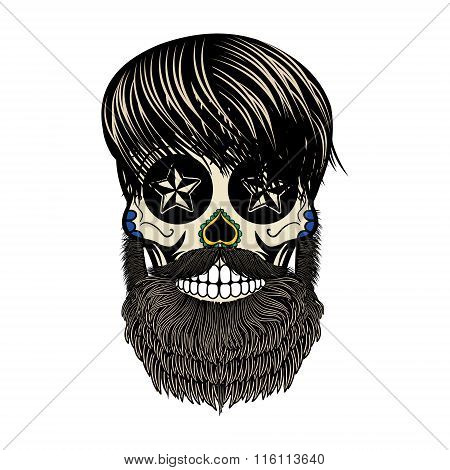 Bearded Skull. Vector Illustration.