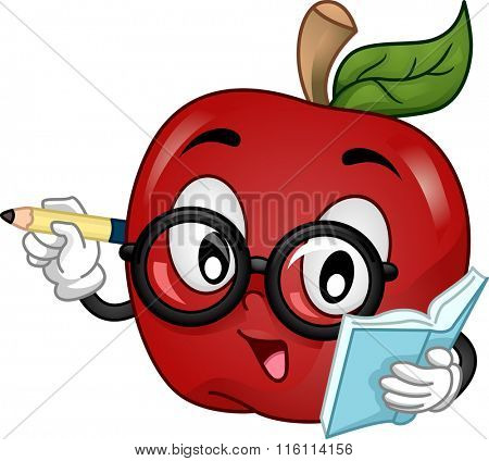 Mascot Illustration of an apple wearing eyeglasses writing and teaching