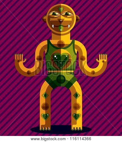 Spiritual Totem Vector Illustration, Meditation And Yoga Theme Drawing. Anthropomorphic Character, M