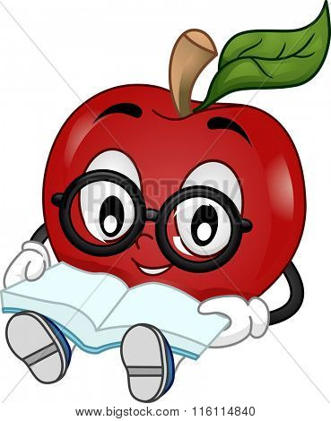 Mascot Illustration of a Student wearing eyeglasses while reading a book