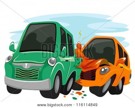 Illustration Featuring Cars Crashing Against Each Other