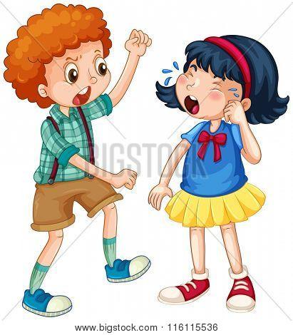 Boy teasing little girl illustration