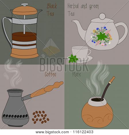 Set of tea and coffee, green and herbal tea, black tea, mate, coffee