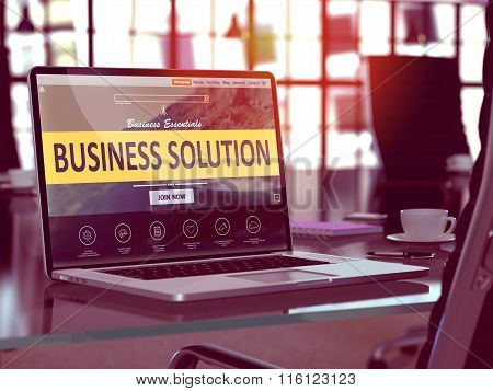 Business Solution Concept on Laptop Screen.