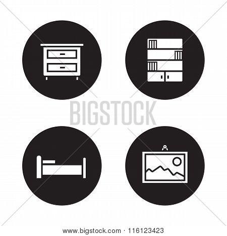 Bedroom furniture black icons set