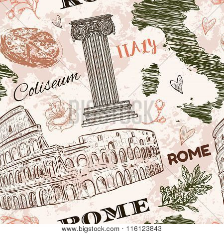 Rome. Vintage seamless pattern with Coliseum, Italy map, classic style column and flowers on grunge