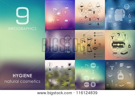 hygiene infographic with unfocused background