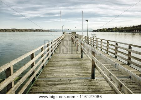 An image of a big jetty at Starnberg lake in Bavaria Germany
