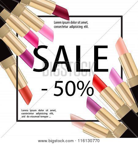Lipstick Sale Paper Baner Cosmetics Poster