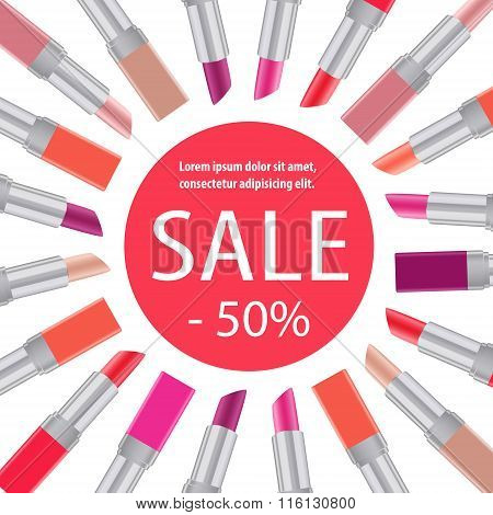 Lipstick Sale Poster Cosmetics Paper Baner