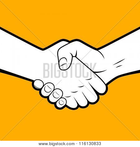 Handshake white silhouette with black contour on orange background. Business partnership and friendship symbol and metaphor