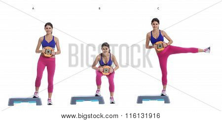 Sumo Squat And Leg Raise With Disc Weight On A Step