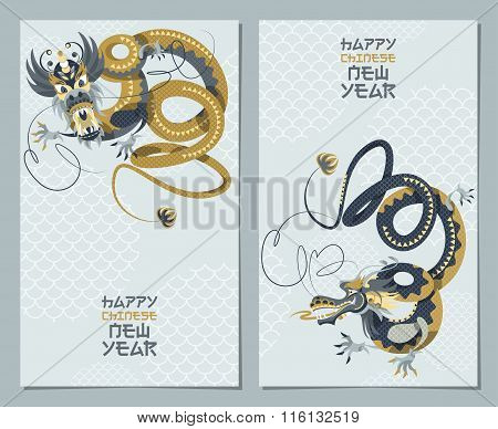 Happy Chinese New Year. Greeting Cards With Traditional Dragon Dance.