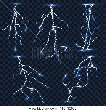 Realistic vector lightnings set on plaid transparent background
