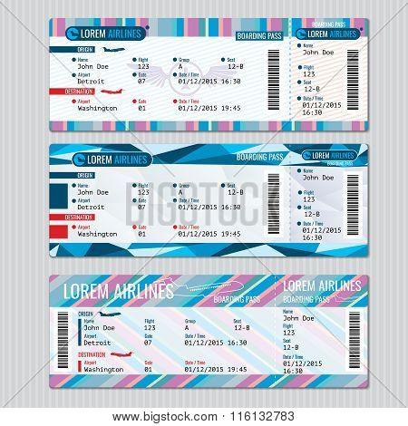 Airline boarding pass tickets vector template. Card passenger, trip aeroplane illustration poster