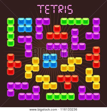 Tetris vector elements in flat design style