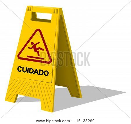 Cuidado Caution Two Panel Yellow Sign