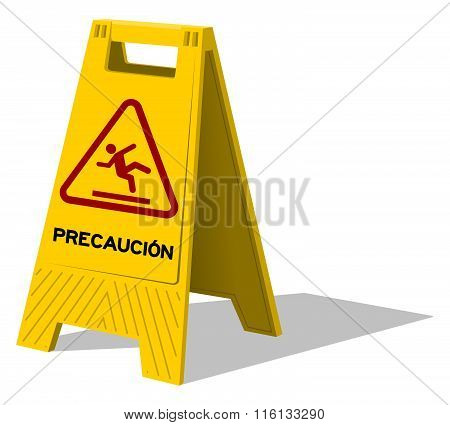Precaucion Caution Two Panel Yellow Sign