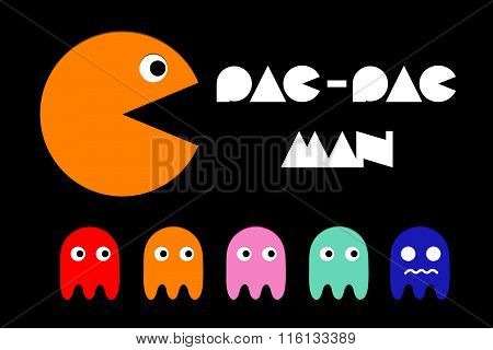 Pac man icon and ghosts. Retro computer arcade game vector flat characters set