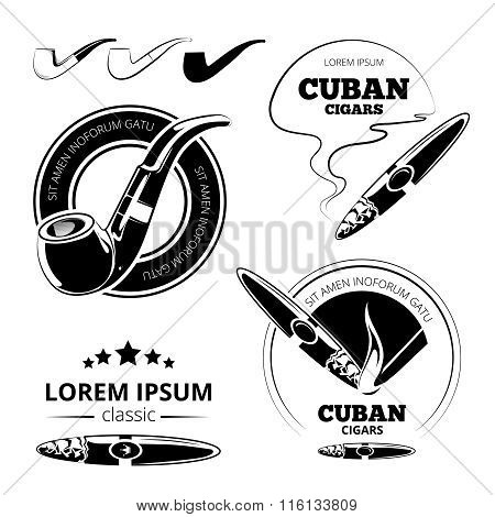 Tobacco leaves, cigars and hookah labels vector set