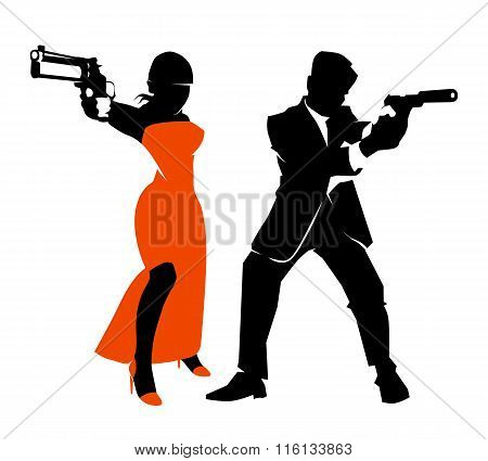 Spy couple vector set