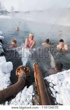 People Take Thermal Baths In Pool With Thermal Water