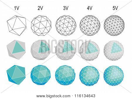 set of geodesic spherical icons