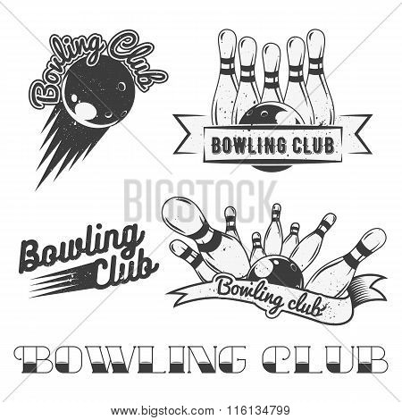 Bowling club logo vector set in vintage style. Labels, badges and emblems. Strike, balls, ninepins