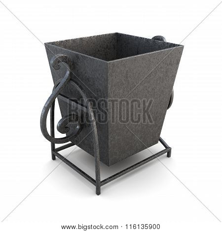 Metal outdoor trashcan isolated on a white background. 3d render
