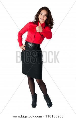 Happy smiling business woman with thumb up sign