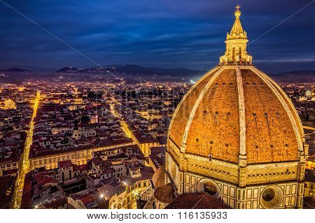 Aerial View Of Cupola Of Florence Duomo And Florence City At Dusk