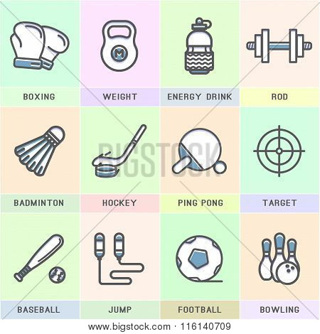 Set of vector sports icons.