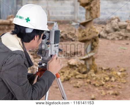 Engineers Use Tacheometer Or Theodolite With Construction Site