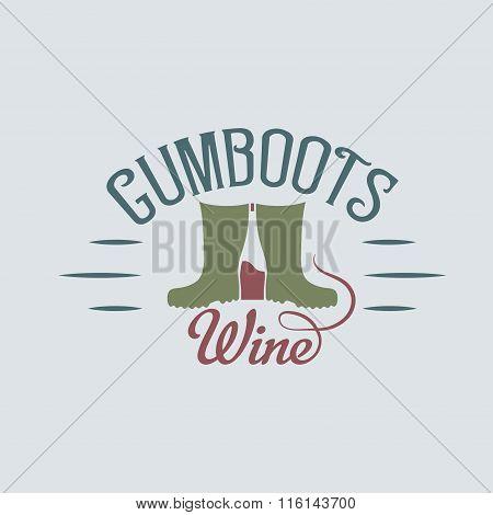 Gumboots Wine Retro Design Negative Space Concept