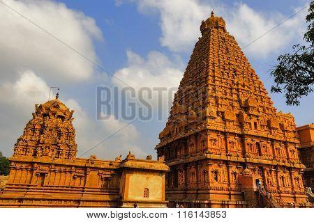 THANJAVUR - TamilNadu/India, January 25 2016: Backside view of gopurams of Brihadeeshwara temple