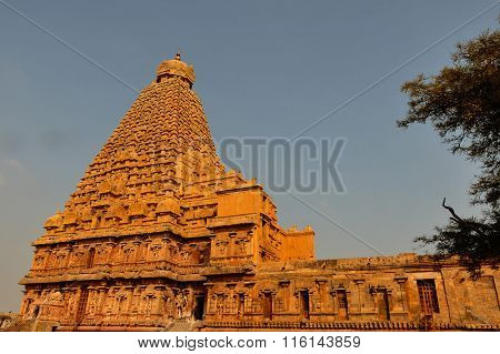 THANJAVUR January 25th, 2016 - Magnificent Brihadeeswarar Temple captured on a bright sunny morning