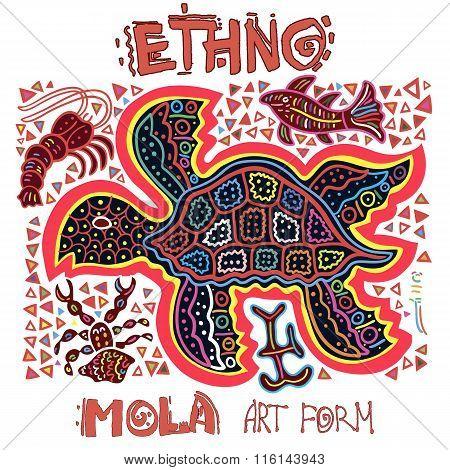 Vector Ethnic Design Element. Indians. MOLA Art Form. Mola Style Turtle. Ethno Bright Decorative Ill