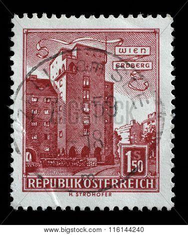 AUSTRIA - CIRCA 1960: A stamp printed in Austria shows image of the Erdberg area of Vienna, series, circa 1960