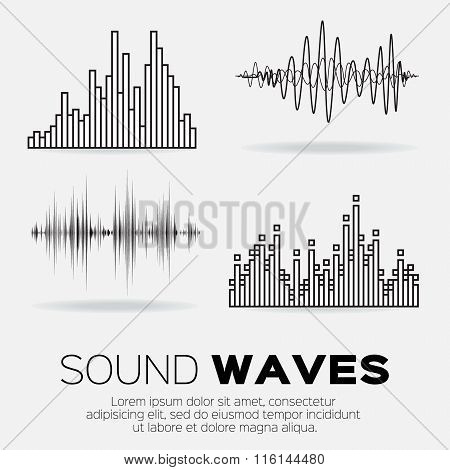 Set of 4 music sound waves.