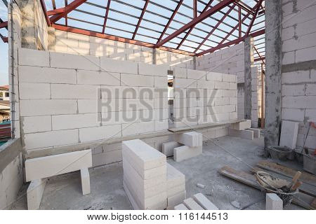 Stack Of White Lightweight Concrete Block, Foamed Concrete Block, Raw Material For Industrial Wall